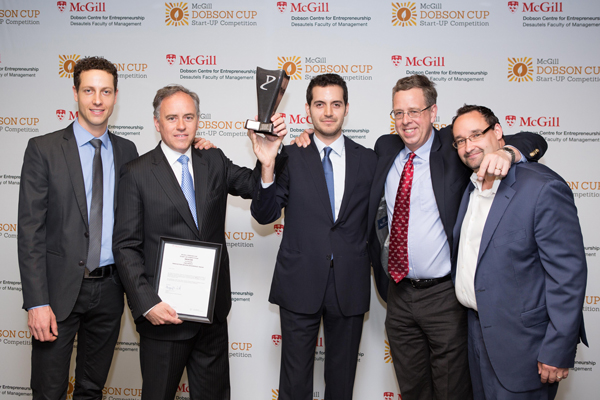 Patrick Vespa (Manager, Strategy and Program Development, Dobson Centre for Entrepreneurship), Meacor co-founders and McGill Dobson Cup winners Dr. Renzo Cecere and Toufic Azar, Prof. Gregory Vit (Director of the Dobson Centre for Entrepreneurship), and McGill Dobson Cup judge Chris Thierry. / Photo: Edmond Chung