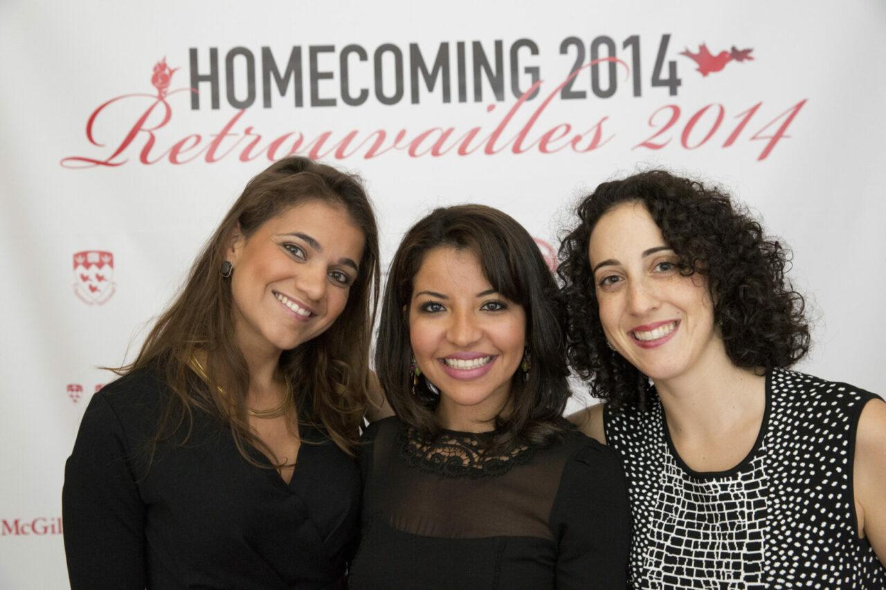 Représentant la promotion de 2009, trois diplômés originairement  d'Haïti, du Maroc et de New York qui sont restés en contact étroit. (photo: Nicolas Morin)